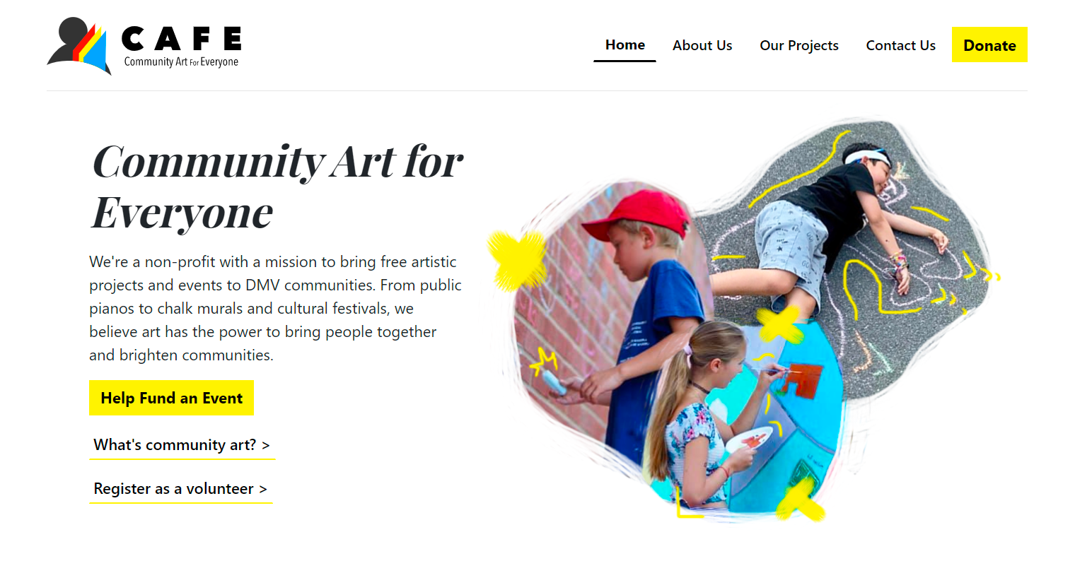 A clean white website with pictures of children at a chalk art event.