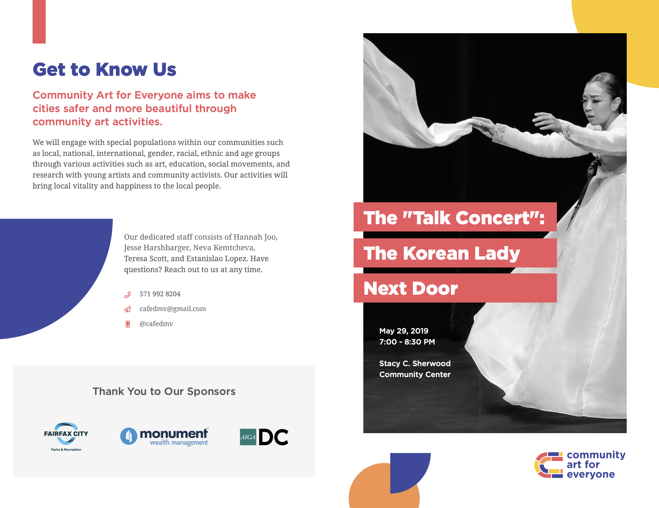 A colorful flyer juxtaposed against a Korean woman dancing in black and white.