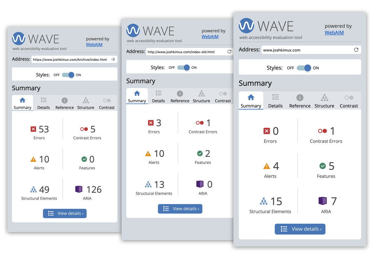 Three screenshots of wave reports from my portfolio before updates and after.